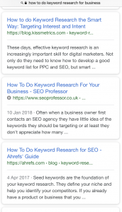 AMP page in search results